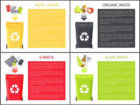 Glass metal organic and e-waste colorful poster isolated on white trash boxes for refuse sorting, icons of bottle and food, electronic gadgets set