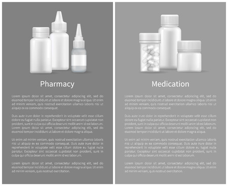 Pharmacy Medication Set Posters Treatment Remedy