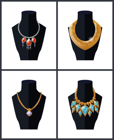 Collection of jewelry necklaces precious stones on black mannequins, expensive accessory items isolated on white. Gold chains set with pendants vector Illustration