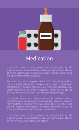 Medication Poster and Text Vector Illustration