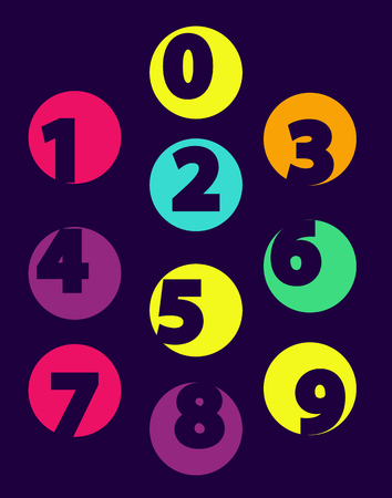 Numbers From 0 till 9 Color Sample Isolated Black Illustration