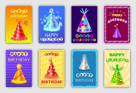 Festive Happy Birthday Postcards with Holiday Hats