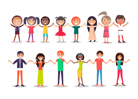 People in Cartoon Style Hholding Hands Show Unity Stock Photo