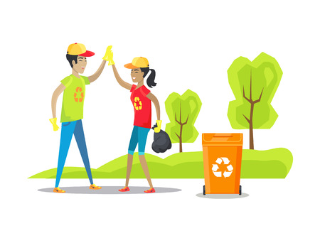 Nature Conservation and People Vector Illustration Stock Photo