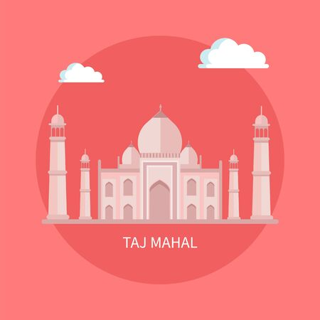 Famous luxurious Taj Mahal building with high towers. Indian attraction known all over world. Huge Asian style castle isolated flat vector in circle