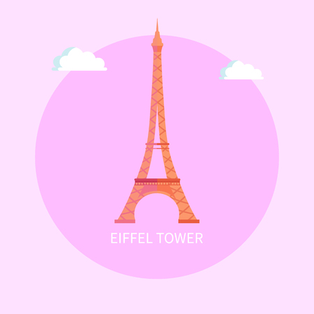 Gorgeous Eiffel Tower from Paris made of metal. Famous European architectural attraction. French popular sight and TV transmitter isolated flat vector in circle Иллюстрация