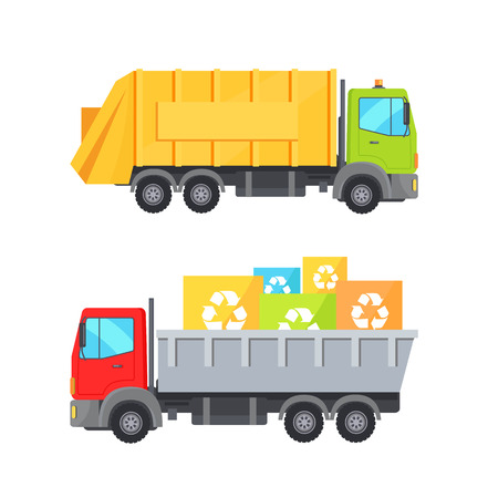 Trucks Transporting Waste Set Vector Illustration 스톡 콘텐츠