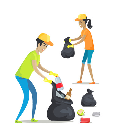 Woman and Man Collecting Waste Vector Illustration