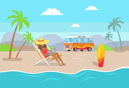 Woman in straw hat working on laptop at sandy beach. Suntanned girl works as freelancer summertime. Distant work and summer vacation vector illustration.