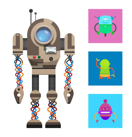 Robotic creature collection of robots, bot with illuminator, small antenna, button panel and lights vector illustration isolated on white background.