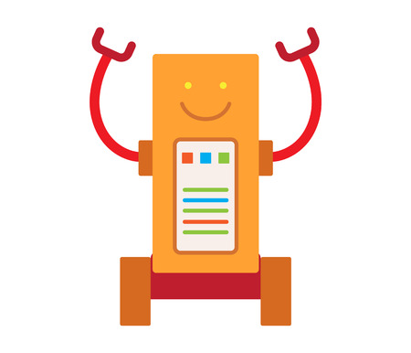 Robot with Long Hands Smile Vector Illustration