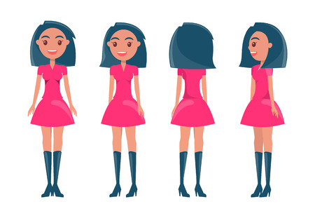Brunette in modern elegant look. Young girl wears dresses and high heeled boots. Pretty woman with stylish outfits vector set of cartoon characters.