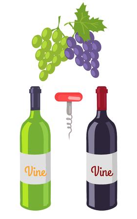 Wine Bottles and Grapes Set Vector Illustration Illustration