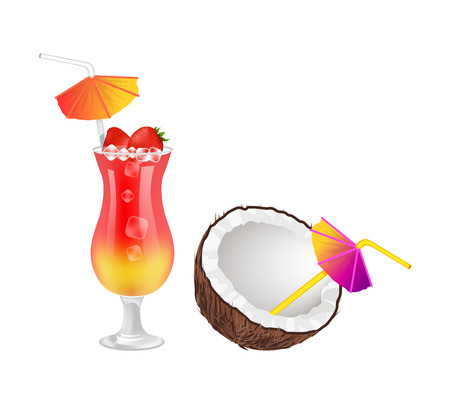 Strawberry cocktail near coconut with straws and umbrellas. Delicious fresh tropical drinks. Sweet beverage next to exotic nut vector illustrations. Vetores