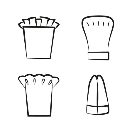 Kitchen Caps Set Headwear Item for Baker Chef Cook Stock Vector - 109245343