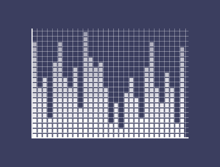 Sound bars composed of squares on coordinate system. Visual monochrome simple graphic. Graphical representation of music isolated vector illustration.
