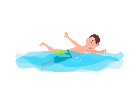 Swimming sport activities, man wearing bathe suit having smile on his face, person and water activity, vector illustration isolated on white background Illustration