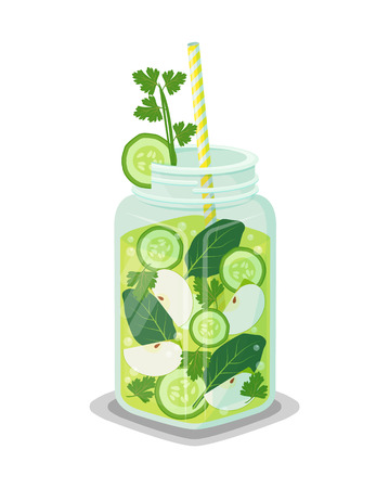 Mug of refreshing drink containing organic green cucumber, bay leaves, slices of apple, ice cubes vector vegetarian dieting cocktail with straw isolated