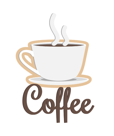 Coffee Poster Headline and Cup Vector Illustration