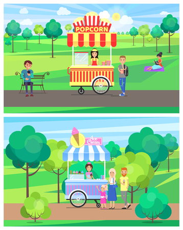 Popcorn and Ice Cream Van in Green Summer Park