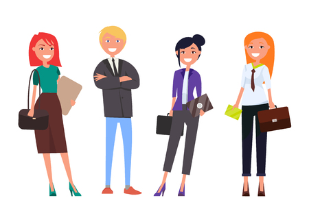 Well-dressed employers in expensive suits, business women and man with digital tablets isolated set, people on business meeting vector successful team