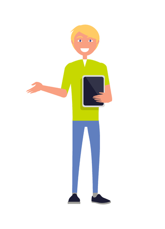 Man Bright T-shirt and Blue Jeans Holding Tablet