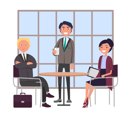 Bosses at Business Meeting Sitting at Round Table Illusztráció