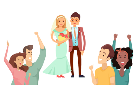 Bride with bouquet and happy groom in cute suit, vector illustration isolated on white background, wedding party, cheerful newlyweds couple just married Illustration