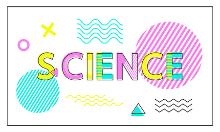 Science Poster Geometric Figures in Linear Style Illustration