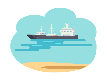 Marine means of transport, vessel for transportation of people across seas and oceans, cruise for travelers making long distances, vector illustration