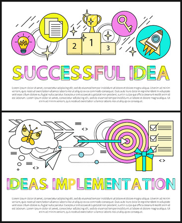 Successful idea implementation posters collection text sample, prize for winner, target with arrow, list of tasks, present box set vector illustration