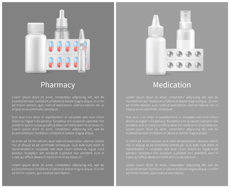 Pharmacy Poster with Containers for Medical Pills Illustration