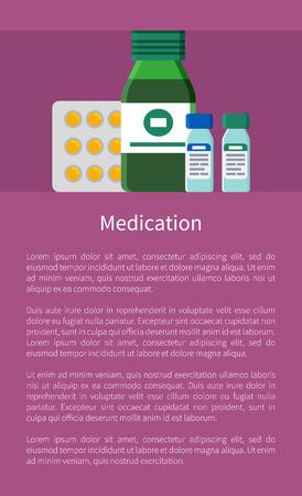 Cartel de medicación con ilustración de Vector de texto