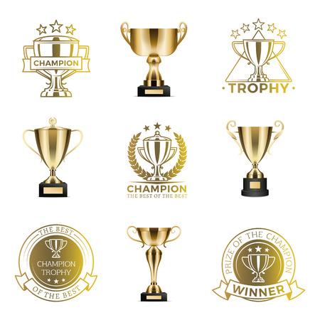 Trophäenpokale für den Sieg im Wettbewerb oder Turnier