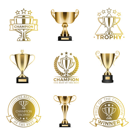 Trophy Cups for Win in Competition or Tournament 矢量图像