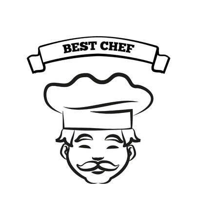 Best Chef Emblem with Friendly Cook in Hat Sketch Illustration