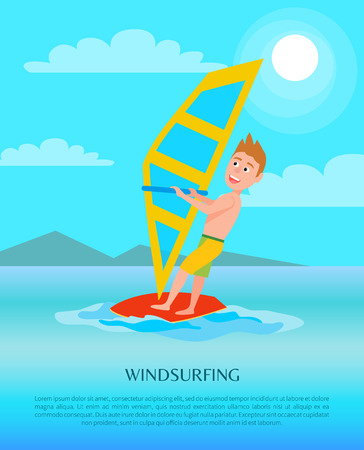 Windsurfing summer activity poster, male with surfboard holds sail, excited man in seasonal sport, cartoon vector illustration banner at coastline.