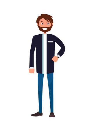 Bearded Man in Jacket and Blue Jeans Stand Smiling