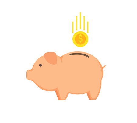 Money-box shape of pig coin with dollar sign dropped in cute animal, deposit and saving money concept vector illustration isolated on white background