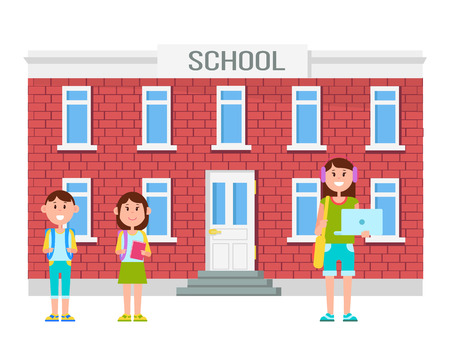 School Building and People Vector Illustration