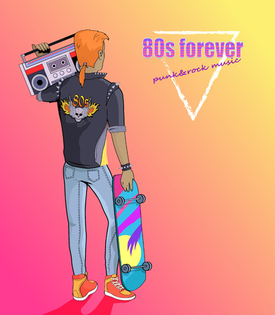 80s Forever Punk and Rock Music Banner with Boy Фото со стока - 109272163