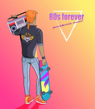 80s Forever punk- en rockmuziekbanner met jongen