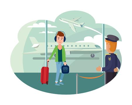 Chico refugiado en el aeropuerto quiere salir del país Ilustración de vector