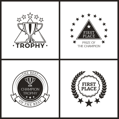 Trophy and Prize of Champion Monochrome Logos
