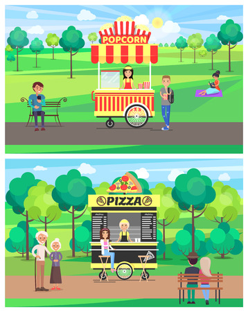 Popcorn and Pizza Shops in Green Park Color Banner Banque d'images - 109272194