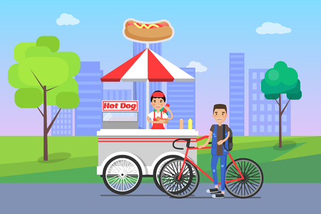 Hot dog seller and customer, bicyclist man buying food, snacks on shopping stall, street snack at cityscape vector illustration hot-dog shop outdoors