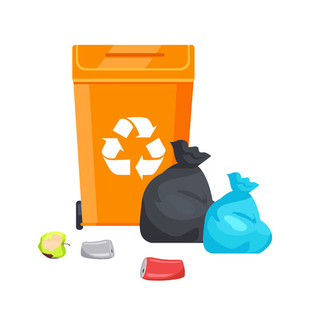 Container with Recycle Sign Vector Illustration