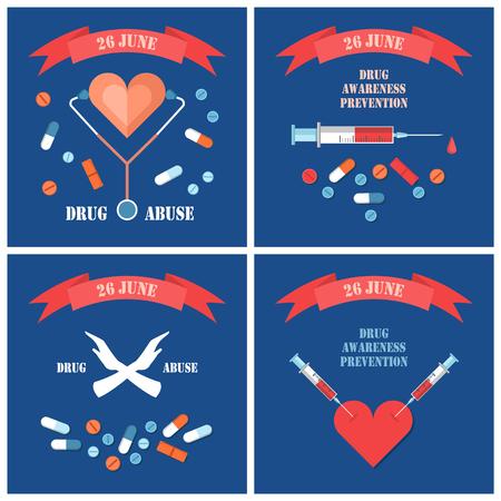 Stop met verdovende posters gewijd aan internationale dag