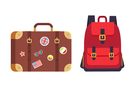 Luggage and red rucksack having pockets straps, baggage decorated with stickers of countries flags, pyramids of Egypt, isolated on vector illustration 일러스트