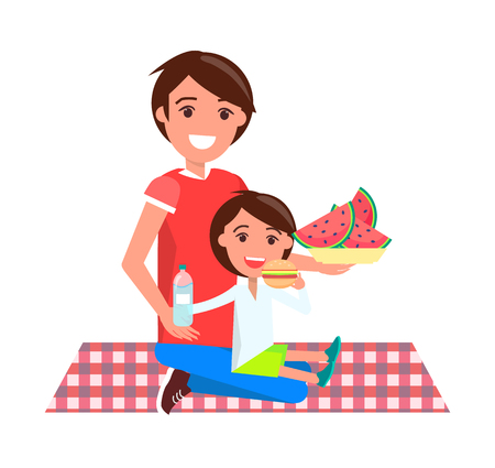 Father and daughter on picnic, sitting on squared blanket, dad holding plate with watermelon slices, girl eating cheeseburger vector illustration